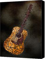 Song Mixed Media Canvas Prints - Abstract Guitar Canvas Print by Michael Tompsett