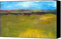 Simple Painting Canvas Prints - Abstract Landscape - The Highway Series Canvas Print by Michelle Calkins
