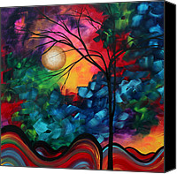 Dark Painting Canvas Prints - Abstract Landscape Bold Colorful Painting Canvas Print by Megan Duncanson