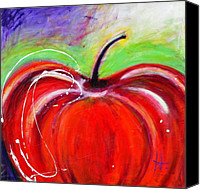 Red Apple Canvas Prints - Abstract Painting of a Red Apple Canvas Print by Johane Amirault