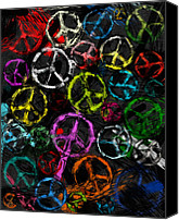 Anti-war Canvas Prints - Abstract Peace Signs Collage Canvas Print by David G Paul
