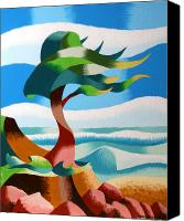 Cubism Canvas Prints - Abstract Rough Futurist Cypress Tree Canvas Print by Mark Webster