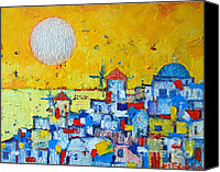 The White House Painting Canvas Prints - Abstract Santorini - Oia Before Sunset Canvas Print by Ana Maria Edulescu