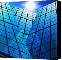 Shiny Photo Canvas Prints - Abstract Skyscrapers Canvas Print by Setsiri Silapasuwanchai