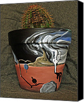 Surrealism Ceramics Canvas Prints - Abstract-Surreal cactus pot A Canvas Print by Ryan Demaree