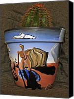 Surrealism Ceramics Canvas Prints - Abstract-Surreal cactus pot C Canvas Print by Ryan Demaree