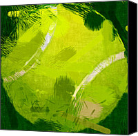 Sports Art Digital Art Canvas Prints - Abstract Tennis Ball Canvas Print by David G Paul