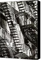 Fire Escape Photo Canvas Prints - Abstract Urban Canvas Print by Steven Huszar