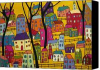 Fences Canvas Prints - Abstract Village Houses and Trees  Canvas Print by Karla Gerard
