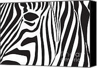 White Canvas Prints - Abstract Zebra Head Canvas Print by Dave Gordon