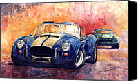 Watercolour Canvas Prints - AC Cobra Shelby 427 Canvas Print by Yuriy  Shevchuk