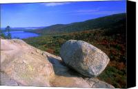Acadia Canvas Prints - Acadia Bubble Rock Canvas Print by John Burk