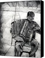Dry Painting Canvas Prints - Accordion Man Canvas Print by Molly Markow