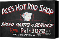 Car Hod Canvas Prints - Aces Hot Rod Shop Canvas Print by Clarence Holmes