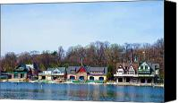 Boathouse Canvas Prints - Across from Boathouse Row - Philadelphia Canvas Print by Bill Cannon