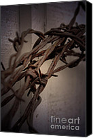 Barbed Wire Fences Photo Canvas Prints - Across From Yesterday Canvas Print by C E Dyer