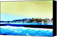 Boathouse Row Canvas Prints - Across the Dam to Boathouse Row. Canvas Print by Bill Cannon