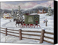 Christmas Painting Canvas Prints - Across the Miles Canvas Print by Richard De Wolfe
