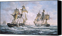 Navy Canvas Prints - Action Between U.S. Sloop-of-War Wasp and H.M. Brig-of-War Frolic Canvas Print by Richard Willis