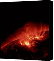 Plasma Photo Canvas Prints - Active Region Of Sun Canvas Print by NASA / Science Source