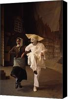 Caucasian Appearance Canvas Prints - Actors Perform Pantomimes At Tivoli Canvas Print by Sisse Brimberg