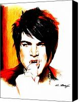Black Drawings Canvas Prints - Adam Lambert Canvas Print by Lin Petershagen