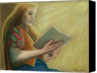Reading Pastels Canvas Prints - Adele Reading Canvas Print by Helen O Hara