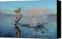 Fish Jumping Canvas Prints - Adirondack Life Canvas Print by Brian Pelkey