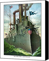 Ship Mixed Media Canvas Prints - Admiral Deweys Flagship Olympia  Canvas Print by War Is Hell Store
