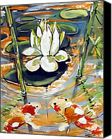Lilly Pad Canvas Prints - Admiring A Lotus Canvas Print by Robert Wolverton Jr