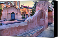 Catholic Church Canvas Prints - Adobe Wall and Felipe de Neri Church Canvas Print by Steven Ainsworth
