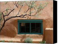 Santa Fe Canvas Prints - Adobe Window in Green Canvas Print by Heidi Hermes