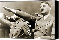 1930s Canvas Prints - Adolf Hitler, Giving Nazi Salute. To Canvas Print by Everett