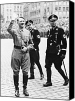 Adolf Canvas Prints - Adolf Hitler Saluting, With Two Ss Canvas Print by Everett