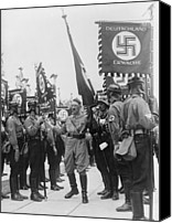 Adolf Canvas Prints - Adolf Hitler With Nazi Storm Troopers Canvas Print by Everett