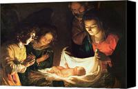 Crib Painting Canvas Prints - Adoration of the baby Canvas Print by Gerrit van Honthorst