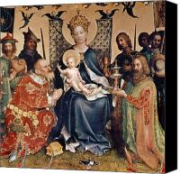Enthroned Canvas Prints - Adoration of the Magi altarpiece Canvas Print by Stephan Lochner