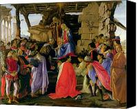 Adore Greeting Cards Canvas Prints - Adoration of the Magi Canvas Print by Sandro Botticelli