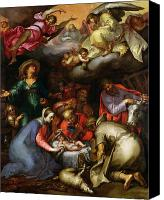 Crib Painting Canvas Prints - Adoration of the Shepherds Canvas Print by Abraham Bloemaert