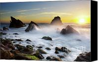 Breeze Canvas Prints - Adraga Beach Canvas Print by Carlos Caetano