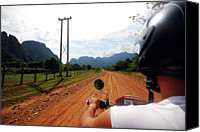 Rear Canvas Prints - Adventure Motorbike Trip In Laos Canvas Print by Thepurpledoor