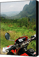 Mountain Scene Canvas Prints - Adventure Motorbike Trip Through Mountains, Laos Canvas Print by Thepurpledoor