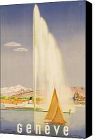 Sailboat Canvas Prints - Advertisement for travel to Geneva Canvas Print by Fehr