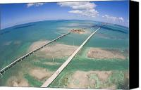 Florida Bridge Photo Canvas Prints - Aerial Of Seven Mile Bridge At Extreme Canvas Print by Mike Theiss