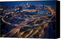Travel Destination Canvas Prints - Aerial Of The Superdome In The Downtown Canvas Print by Tyrone Turner