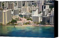 Waikiki Canvas Prints - Aerial of Waikiki Hotels Canvas Print by Ron Dahlquist - Printscapes