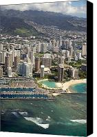Waikiki Canvas Prints - Aerial of Waikiki Canvas Print by Ron Dahlquist - Printscapes