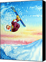 Sports Art Painting Canvas Prints - Aerial Skier 13 Canvas Print by Hanne Lore Koehler