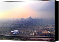 Football Digital Art Canvas Prints - Aerial View - Philadelphias Stadiums with Cityscape  Canvas Print by Bill Cannon