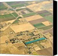 Cultivation Canvas Prints - Aerial View of a Lake in an Agricultural Community Canvas Print by Eddy Joaquim